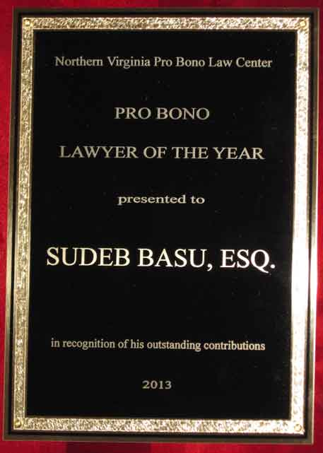 2013 Northern Virginia Pro Bono Lawyer of the Year Award